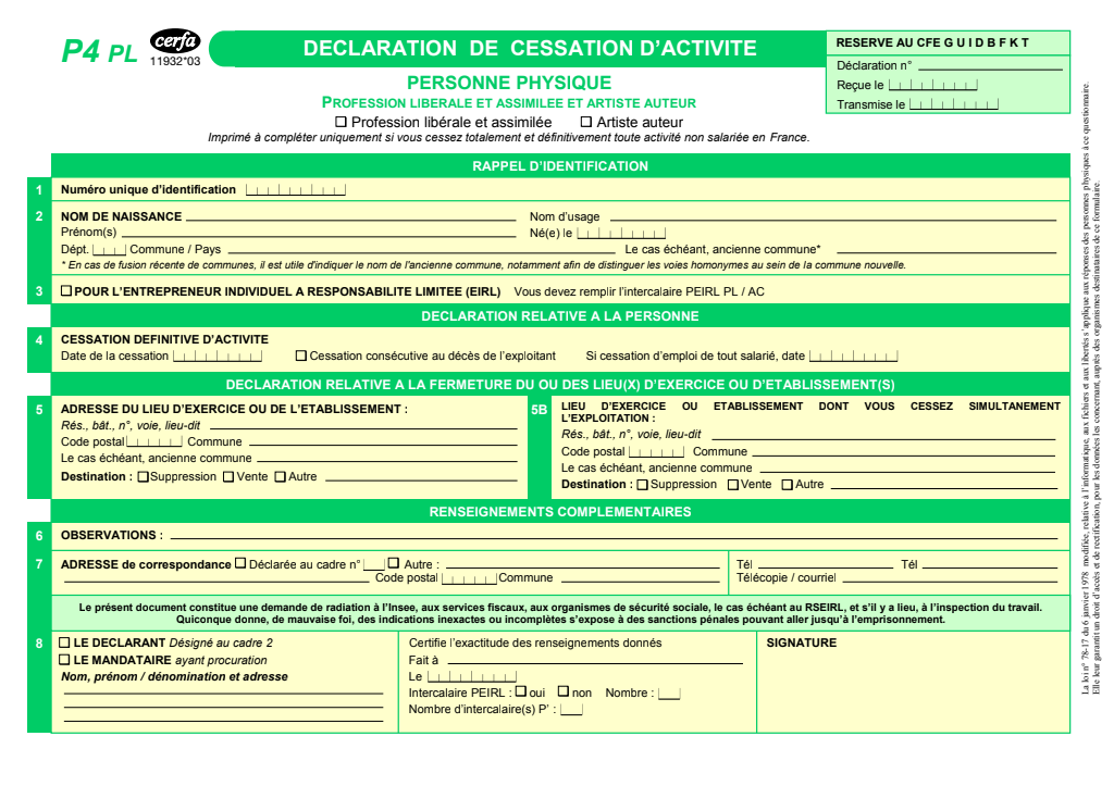 Formulaire_11932*03 : Déclaration de cessation d'activité - Personne physique (P4 PL)