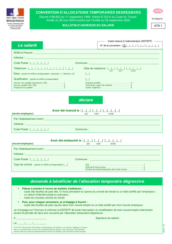 Formulaire_12625*01 : Convention d'allocations temporaires dégressives - Bulletin d'adhésion du salarié