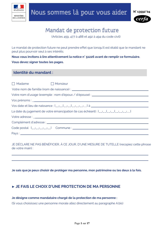 Formulaire_13592*04 : Mandat de protection future