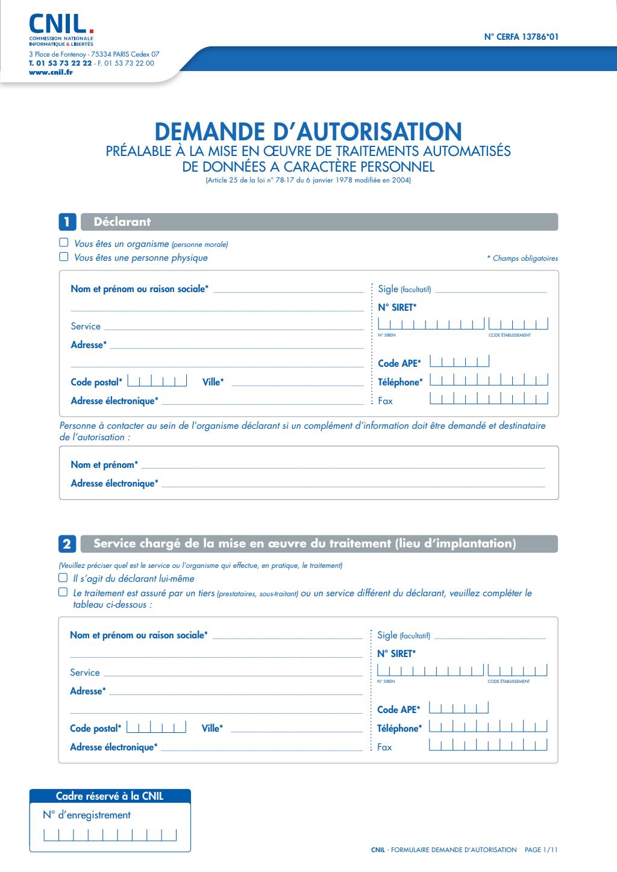 Formulaire_13786*03 : Demande d'autorisation préalable à la mise en œuvre de traitements automatisés de données à caractère personnel