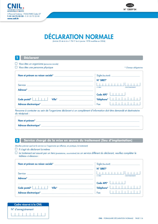 Formulaire_13809*06 : déclaration normale traitement données personnelles