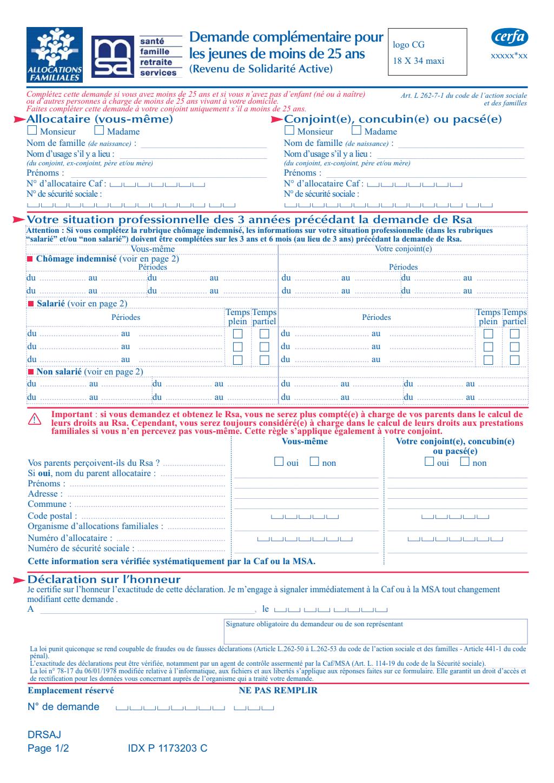 Formulaire_14130*02 : RSA - Demande complémentaire pour un jeune de moins de 25 ans