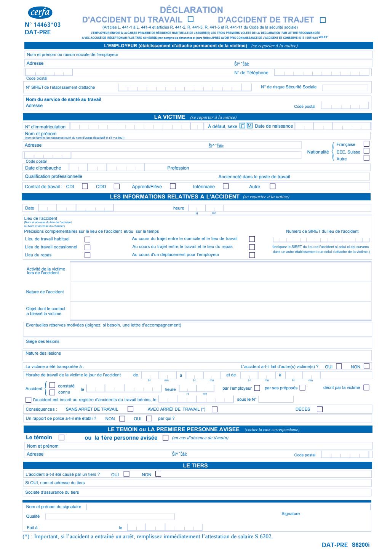 Formulaire_14463*03 (ex-60-3682) : Déclaration d'accident du travail ou de trajet