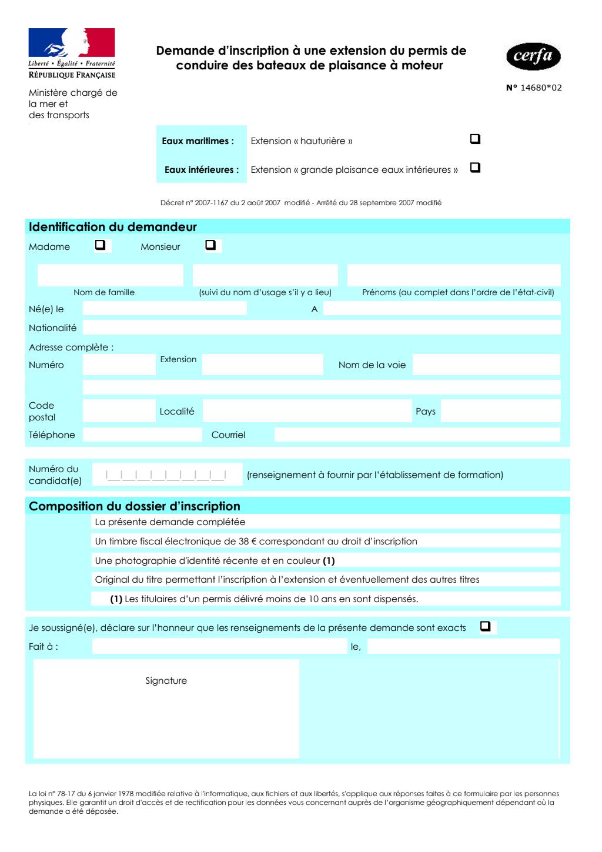 Formulaire_14680*02 : Permis de conduire des bateaux de plaisance à moteur : demande d'inscription à une extension