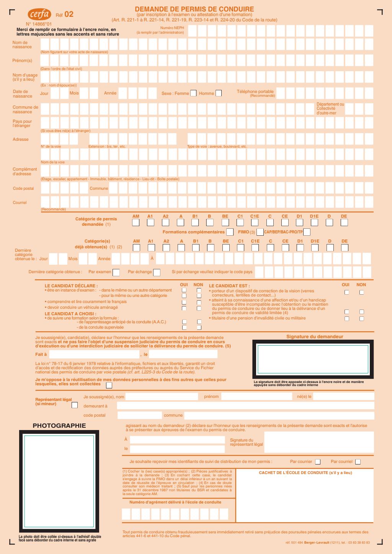 Formulaire_14866*01 : Demande de Permis de Conduire (inscription examen)