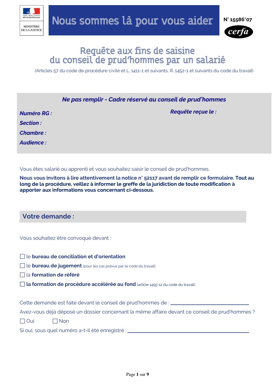 Formulaire_15586*07 : Requête aux fins de saisine du conseil de prud'hommes (CPH) par un salarié