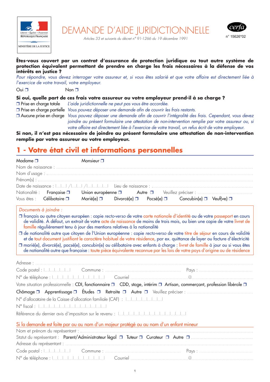 Formulaire_15626*02 : Demande d'aide juridictionnelle
