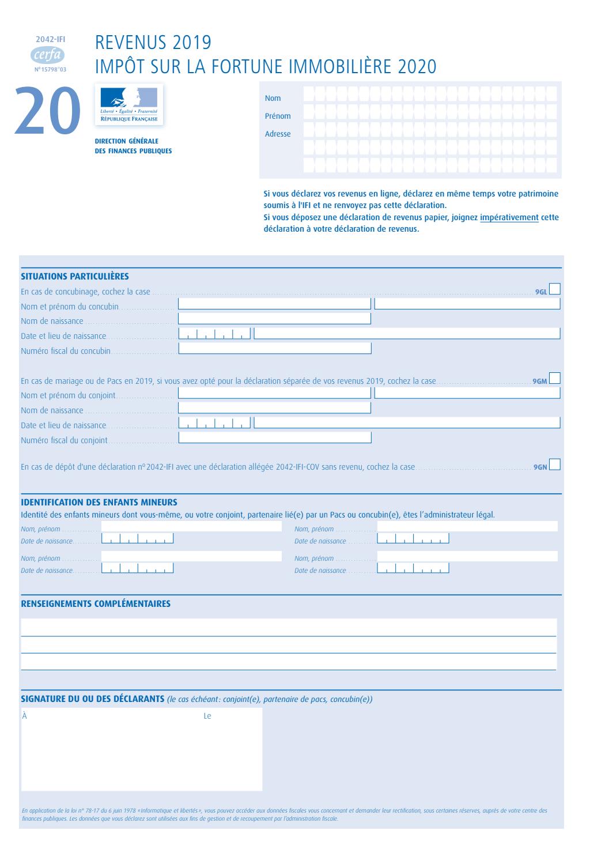 Formulaire_2042-IFI : Déclaration d'impôt sur la fortune immobilière 2020