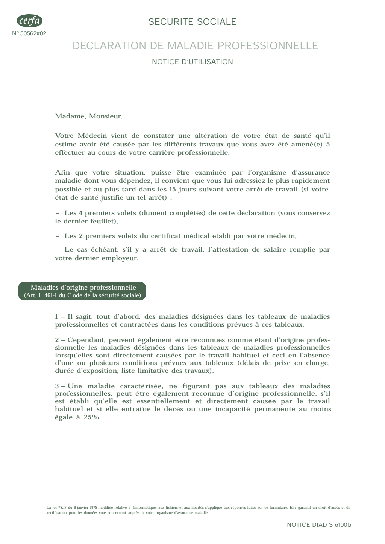 Formulaire_60-3950 : Déclaration de maladie professionnelle ou demande de reconnaissance de maladie professionnelle