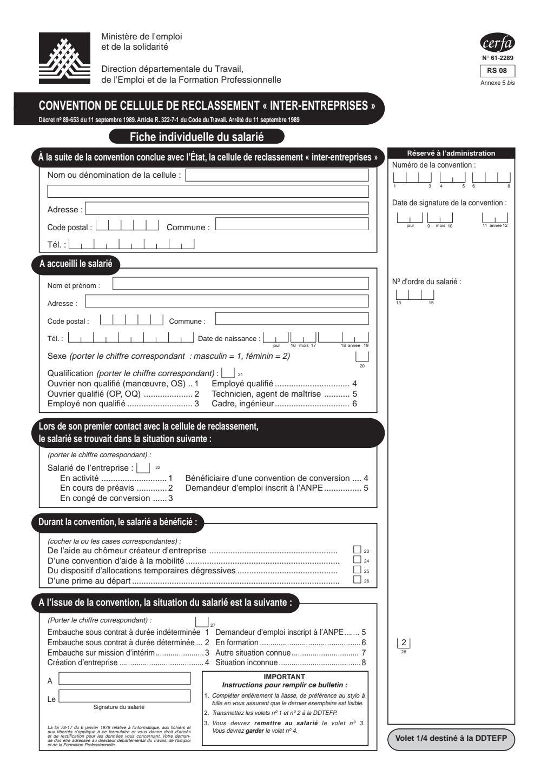 """Formulaire_61-2289 RS08 : Convention de cellule de reclassement """"inter - entreprises"""" - Fiche individuelle du salarié"""