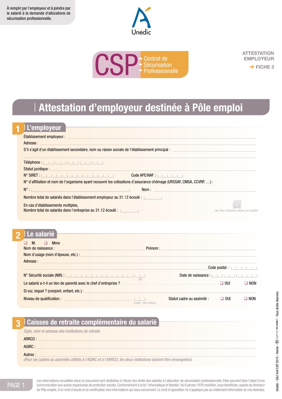 Formulaire_DAJ 544 : L'attestation employeur (à joindre à la demande d'allocations de sécurisation professionnelle)