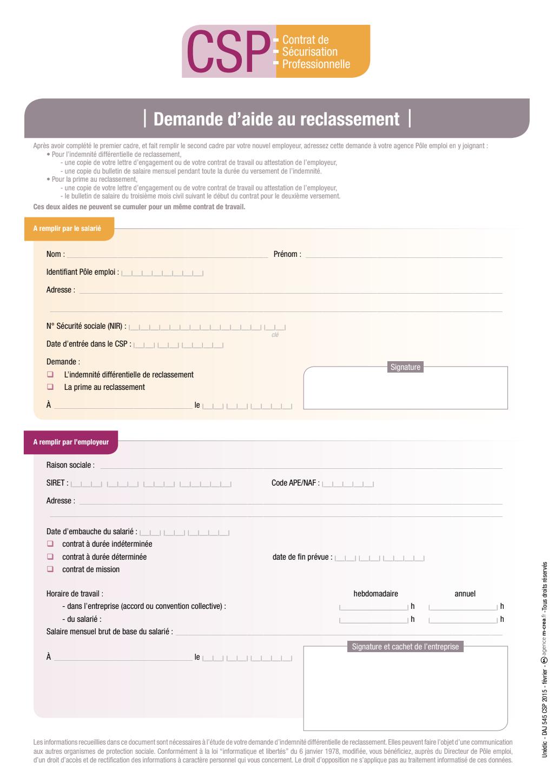 Formulaire_DAJ 545 : La demande d'aide au reclassement