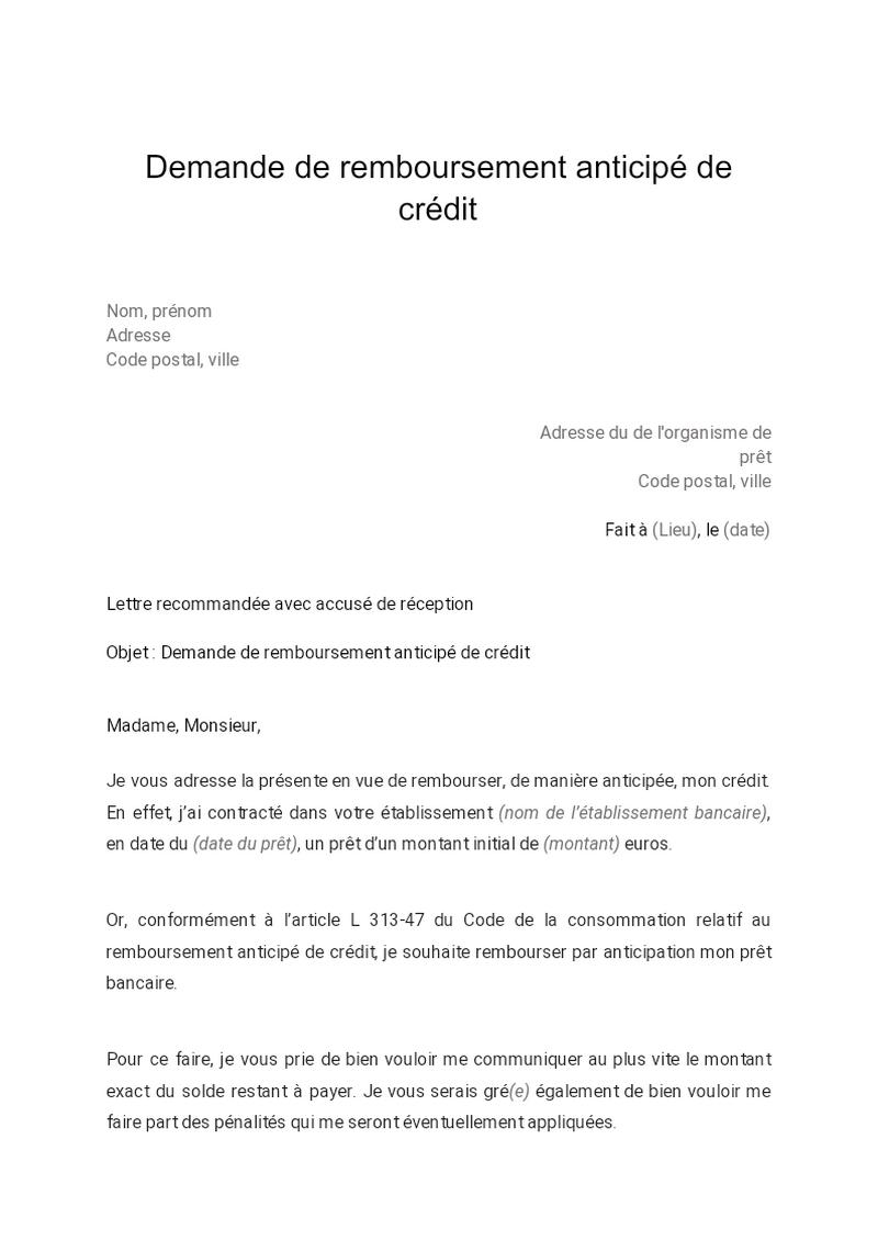 Demande de remboursement anticipé de crédit