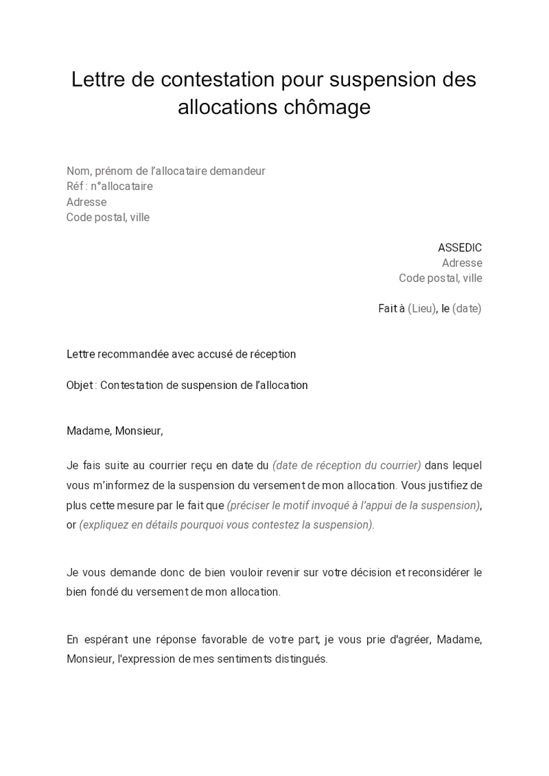 Lettre de contestation pour suspension des allocations chomage