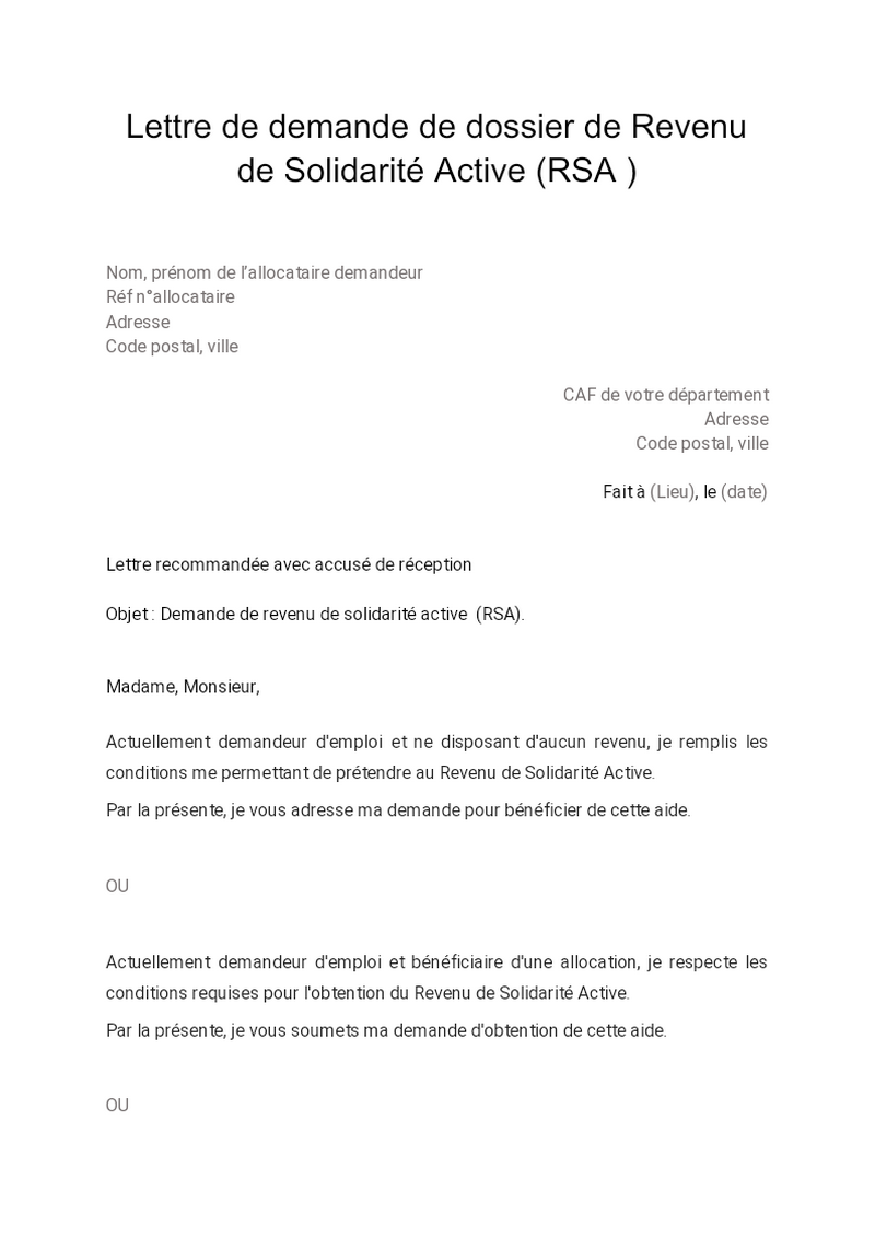 Lettre de demande de dossier de Revenu de Solidarité Active (RSA )