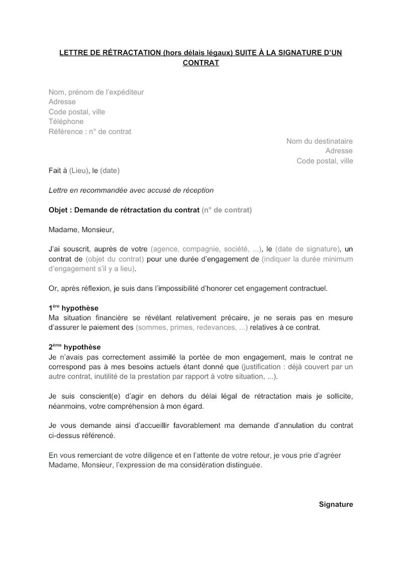 Lettre de rétractation à la suite de la signature d'un contrat