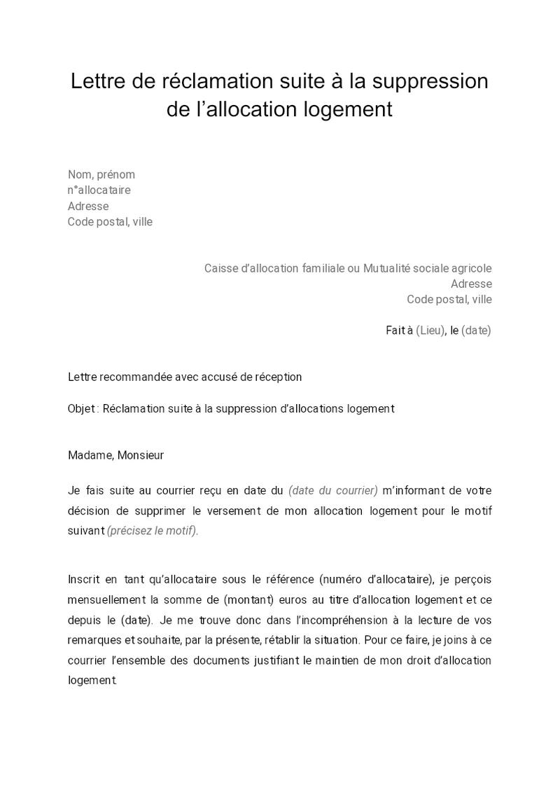 Lettre de réclamation à la suite de la suppression de l'allocation logement