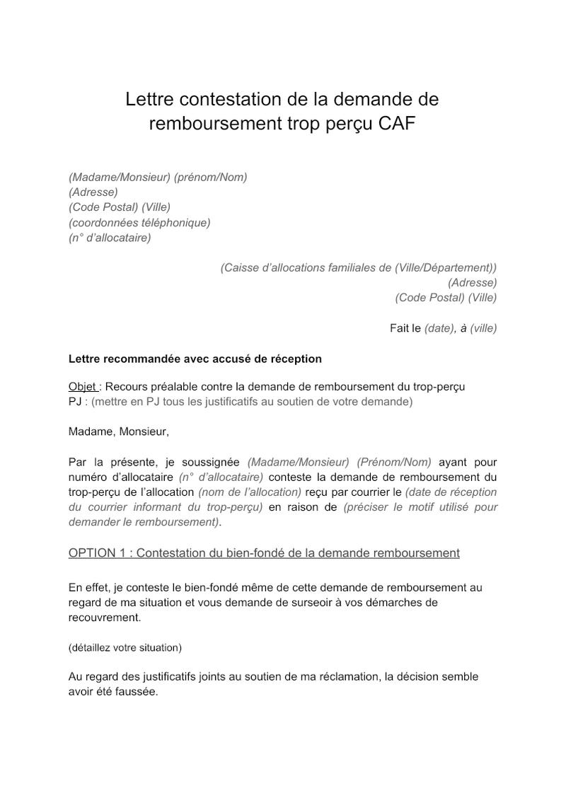 Lettre de contestation d'une demande de remboursement de trop-perçu de la CAF