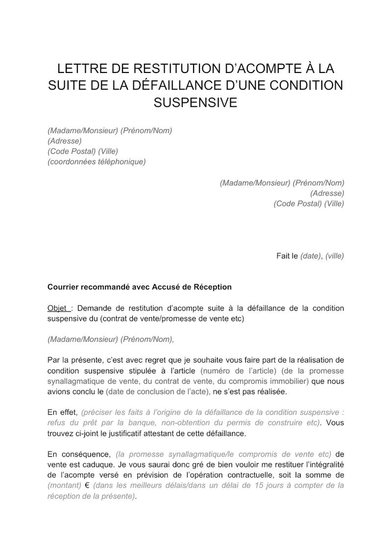 Courrier de demande de restitution d'acompte suite à la non réalisation d'une condition suspensive