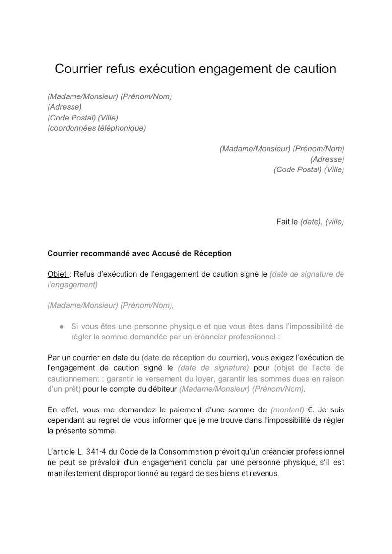 Courrier refus exécution engagement de caution