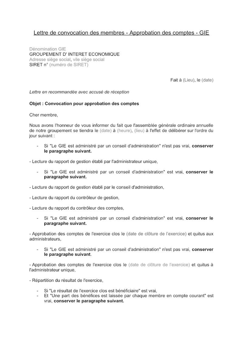 Lettre de convocation des membres GIE approbation des comptes