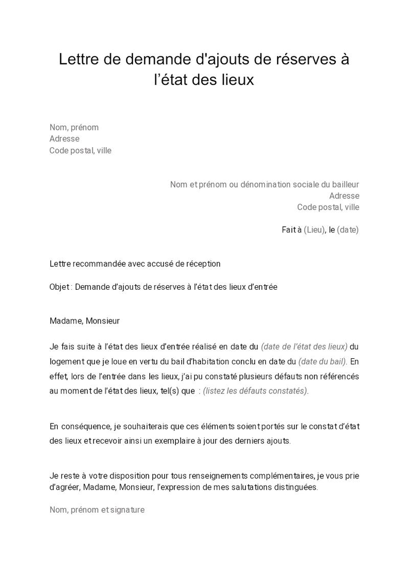Lettre de demande d'ajouts de réserves à l'état des lieux