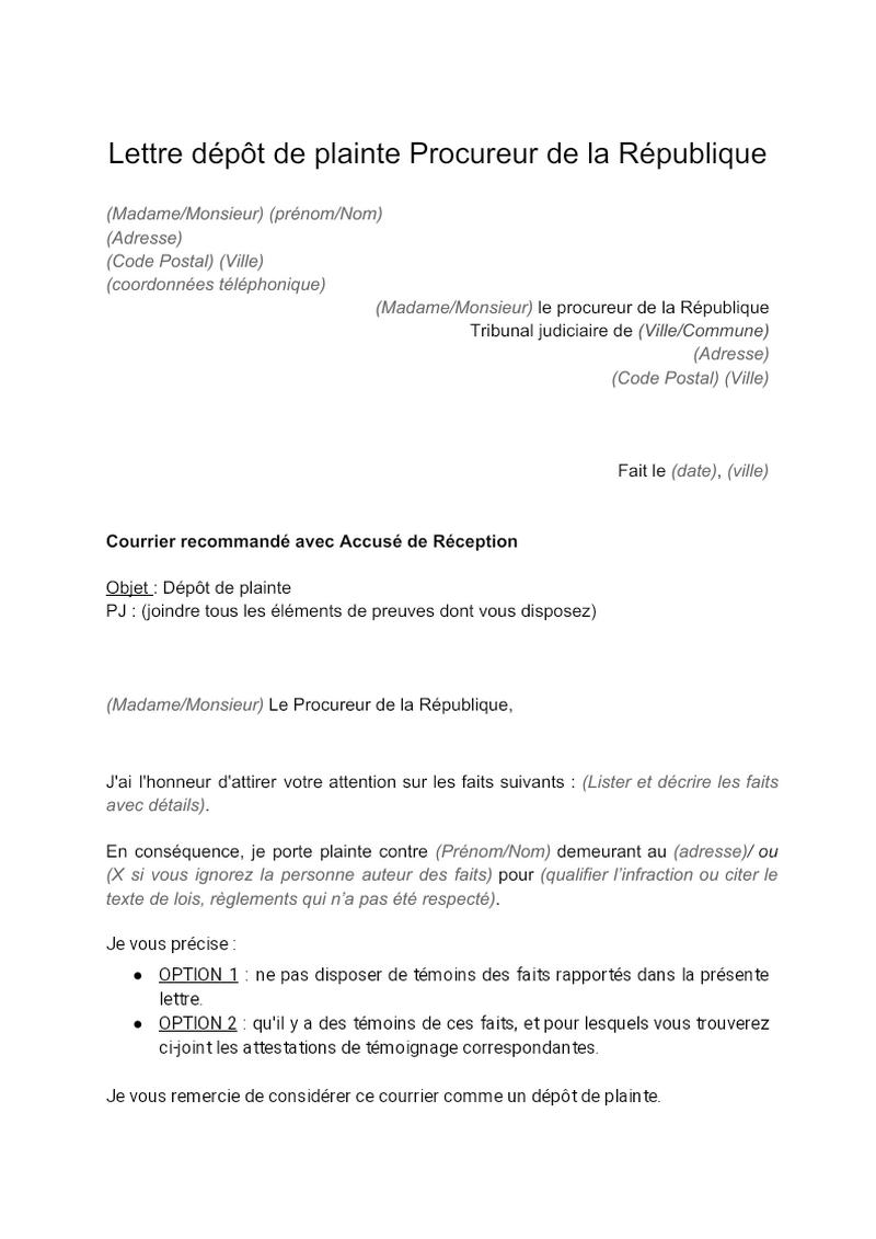 Lettre de dépôt de plainte devant Procureur de la République