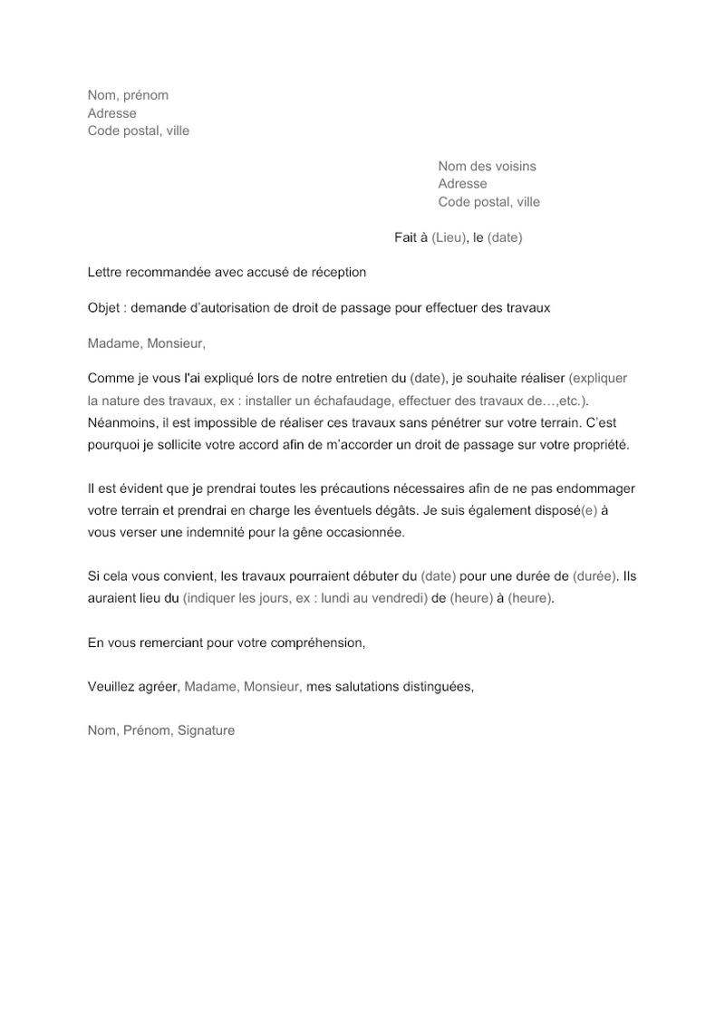 Lettre demandant l'autorisation de pénétrer sur la propriété du voisin pour exécuter des travaux