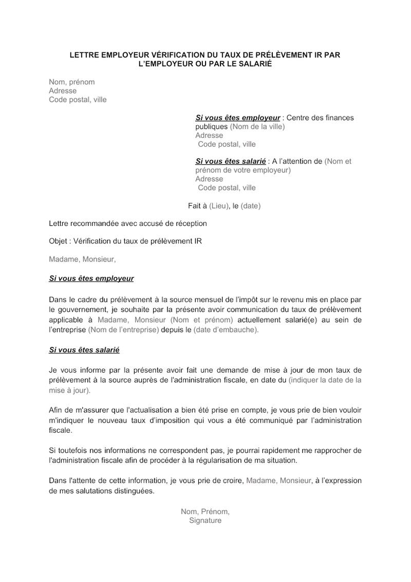 Lettre employeur vérification du taux de prélévement IR