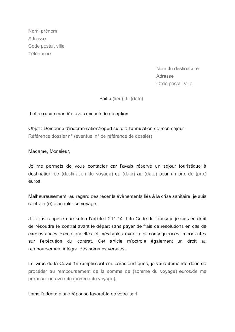 Lettre pour demander l'indemnisation ou le report d'un voyage annulé Covid-19