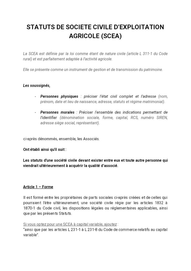 Statuts Société Civile d'exploitation Agricole