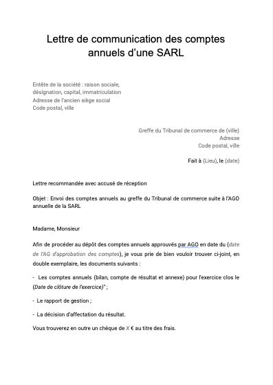 Lettre de communication des comptes annuels d'une SARL