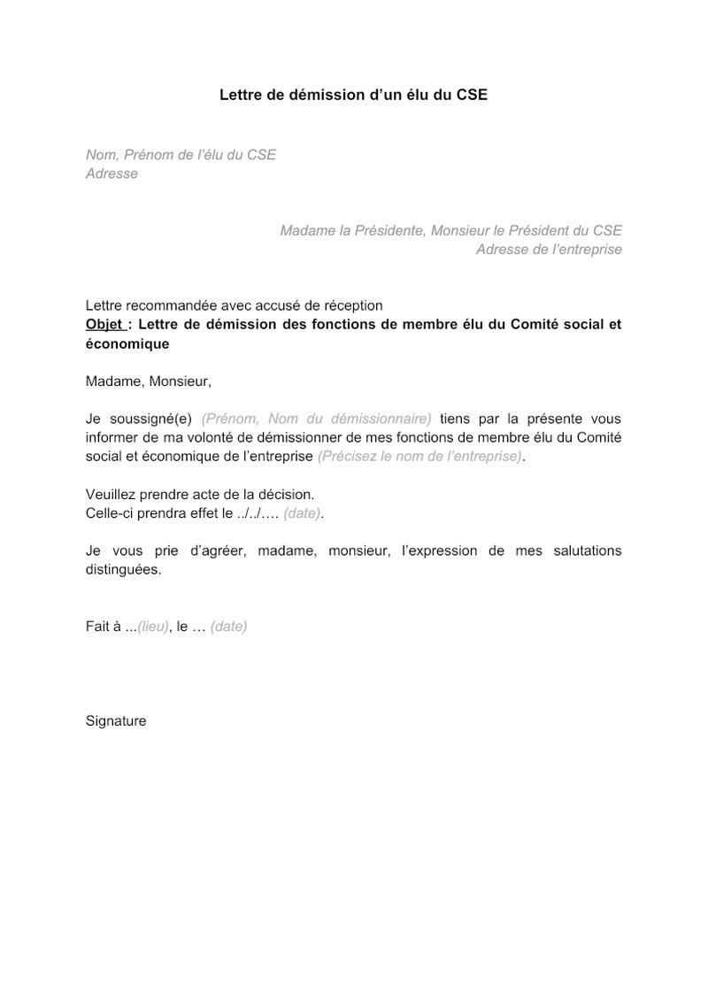 Modèle de lettre de démission d'un élu