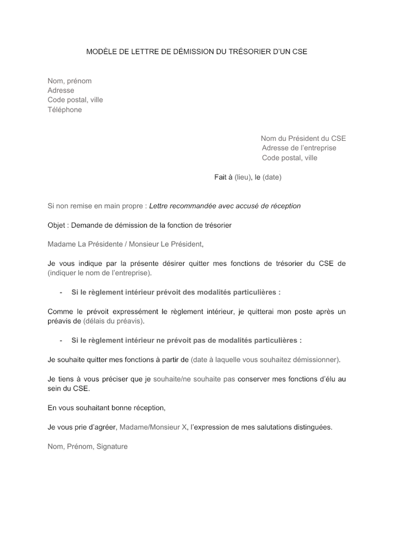 Modèle de lettre de démission du mandat de trésorier