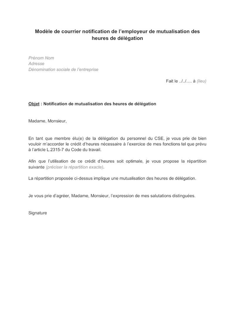 Modèle de courrier notification de l'employeur de mutualisation des heures de délégation