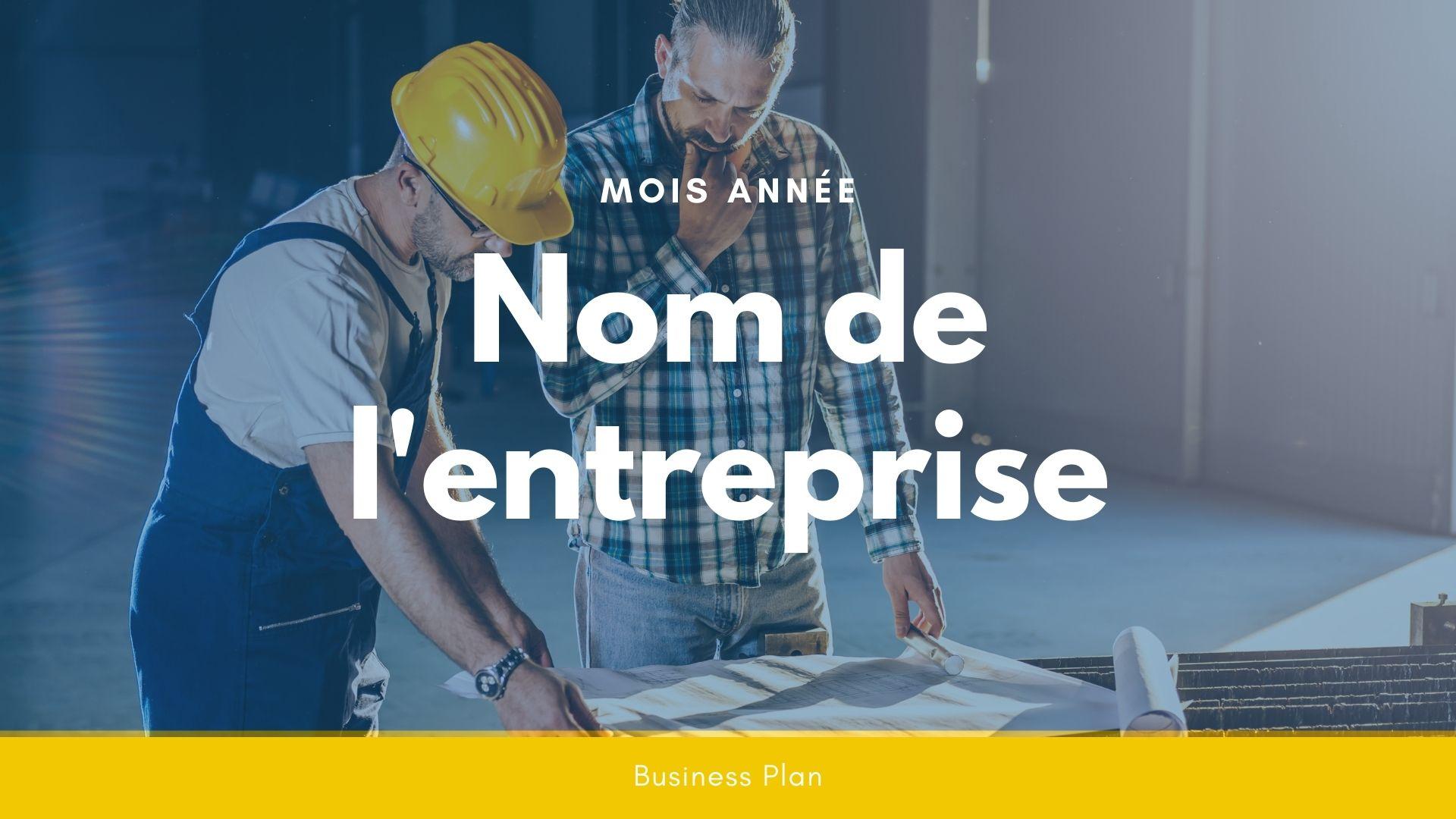 Modèle de business plan - Entreprise BTP