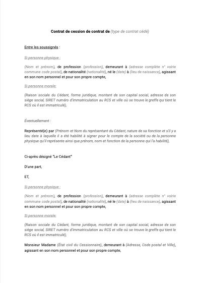 Modèle de cession de contrat