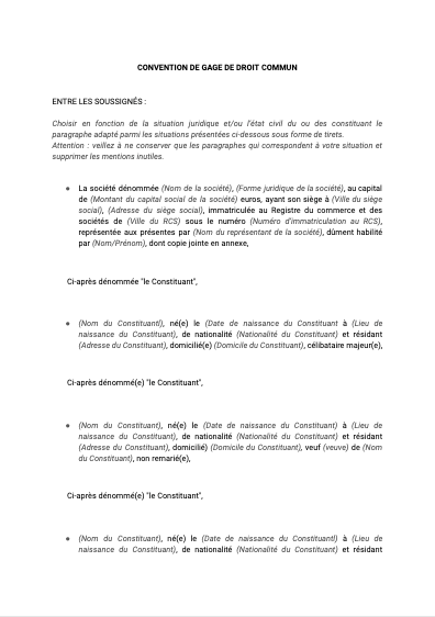 Convention de gage de droit commun