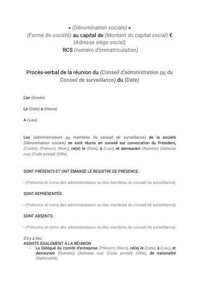 PV de la réunion du (Conseil d'administration ou du Conseil de surveillance)