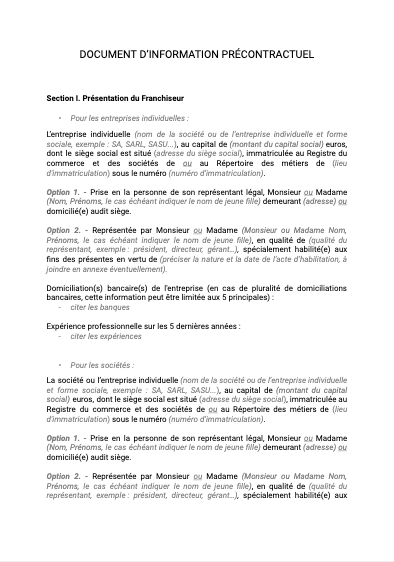 Document d'information précontractuel (DIP)