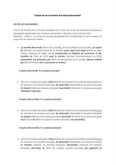 Contrat de sous-location d'un bail professionnel