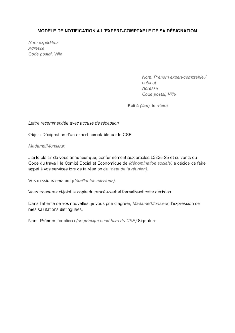 Modèle de lettre de notification à l'expert-comptable de sa désignation