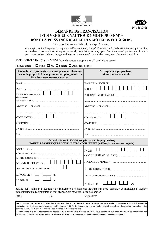 Formulaire_14681*02 : Demande d'inscription à une option de base du permis de conduire des bateaux de plaisance à moteur