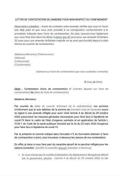 Lettre de contestation de l'amende pour non respect du confinement
