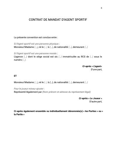 Contrat de mandat d'agent sportif