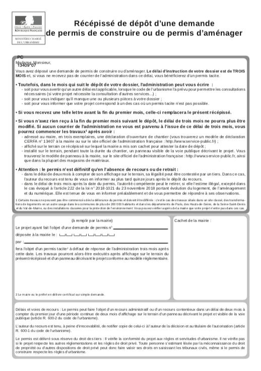 Demande de permis d'aménager