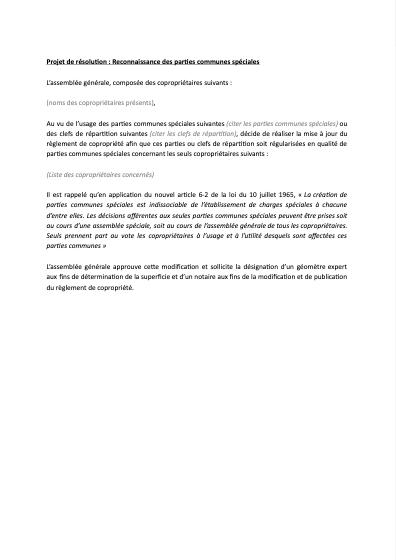 Projet de résolution : parties communes à jouissance privative
