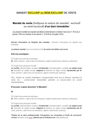 Mandat exclusif (ou semi exclusif) de vente