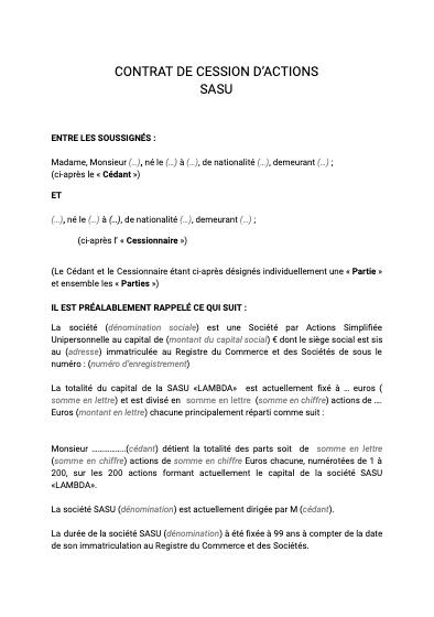 Cession d'actions SASU