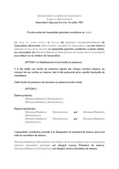 Modèle de PV d'AG constitutive d'association